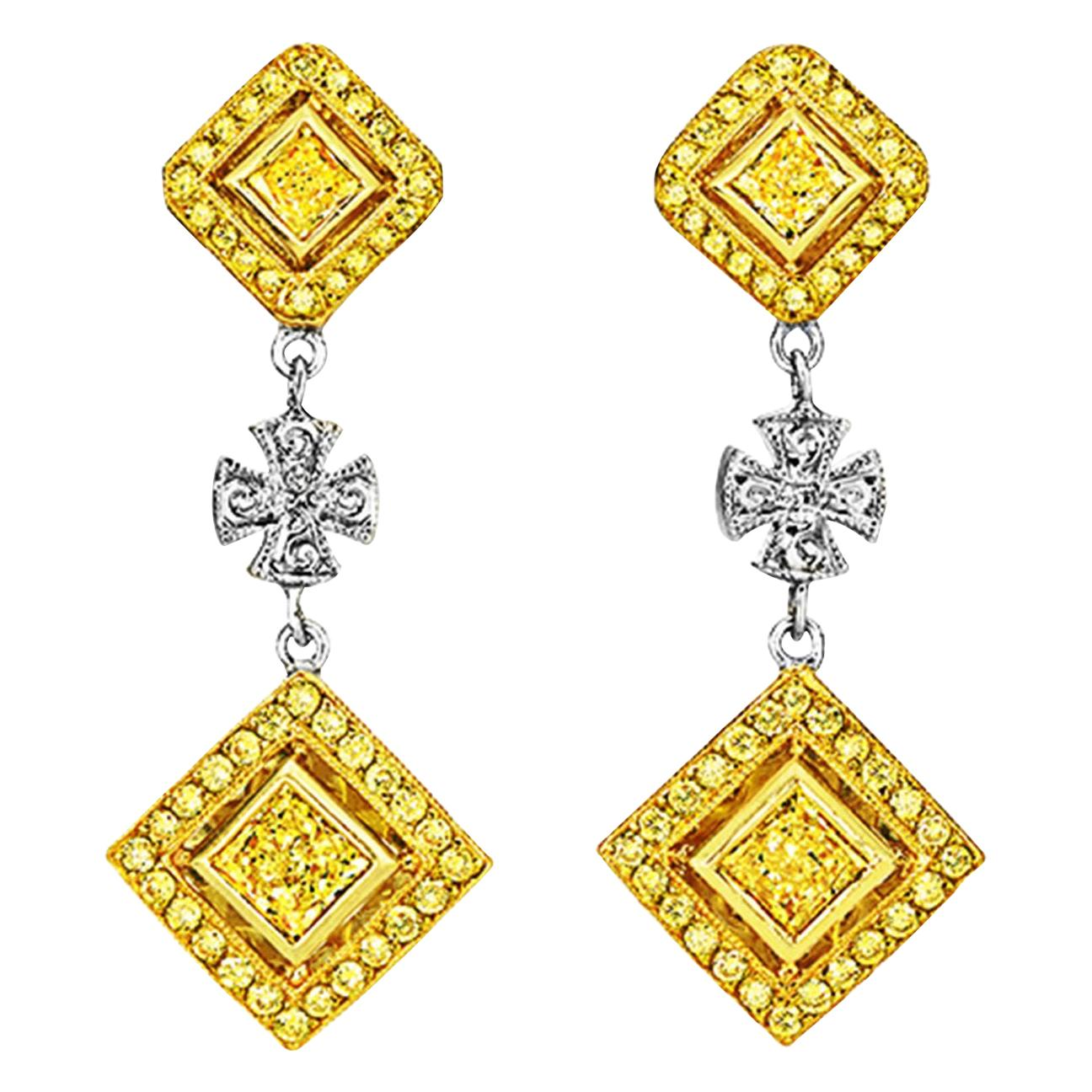Michael Beaudry Fancy Yellow Diamond Maltese Cross Earrings