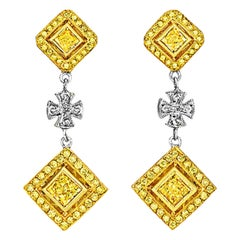 Michael Beaudry Fancy Yellow Diamond Maltese Cross Earrings