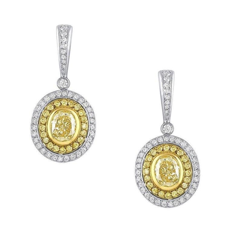 """Michael Beaudry"" Fancy Yellow Drop Earrings, GIA Certified For Sale"