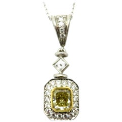 Michael Beaudry Fancy Yellow Radiant Cut Diamond 18 Karat and Platinum Necklace