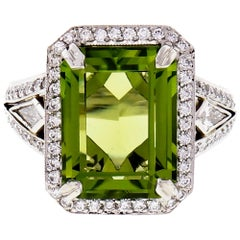 Michael Beaudry 6.82 Carat Peridot Diamond Halo Platinum Cocktail Ring