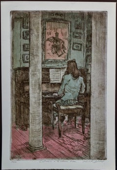 """""""Catrina in the Chinese Room  2/200"""" Hand Color Etching 16 x 11"""