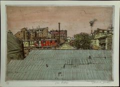 "Michael Blaker, ""Paris Rooftops, 49/90 Hand Colored Etching 12 1/2 x 16"