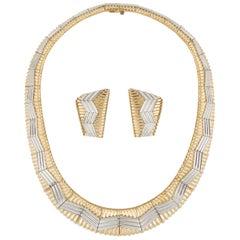 Michael Bondanza 18 Karat Platinum Necklace and Earrings