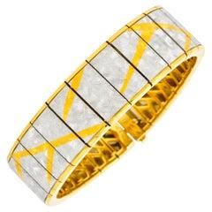 Michael Bondanza 1990s Platinum 18 Karat Gold Signature Bracelet
