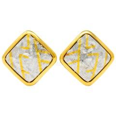 Michael Bondanza 1990s Platinum 18 Karat Gold Signature Earrings