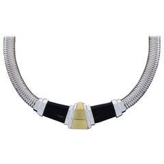 Michael Bondanza Deco Silver & Gold Cabochon Onyx Choker Necklace