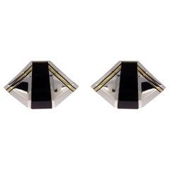 Michael Bondanza Deco Silver & Gold Cabochon Onyx Clip Earrings