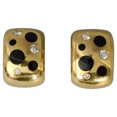 Michael Bondanza Diamond and Onyx Gold Earrings