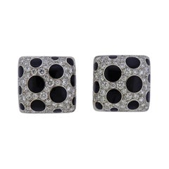Michael Bondanza Diamond Onyx Platinum Gold Earrings