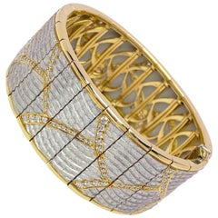 "Michael Bondanza Platinum, 18 Karat Yellow Gold and Diamonds ""Venetian"" Bracelet"