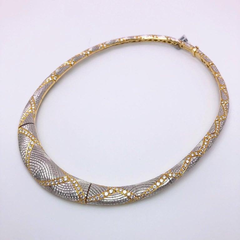 Modern Michael Bondanza Platinum and 18KT YG, 10.24Ct. Diamond Venetian Collar Necklace For Sale