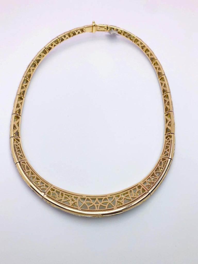 Round Cut Michael Bondanza Platinum and 18KT YG, 10.24Ct. Diamond Venetian Collar Necklace For Sale