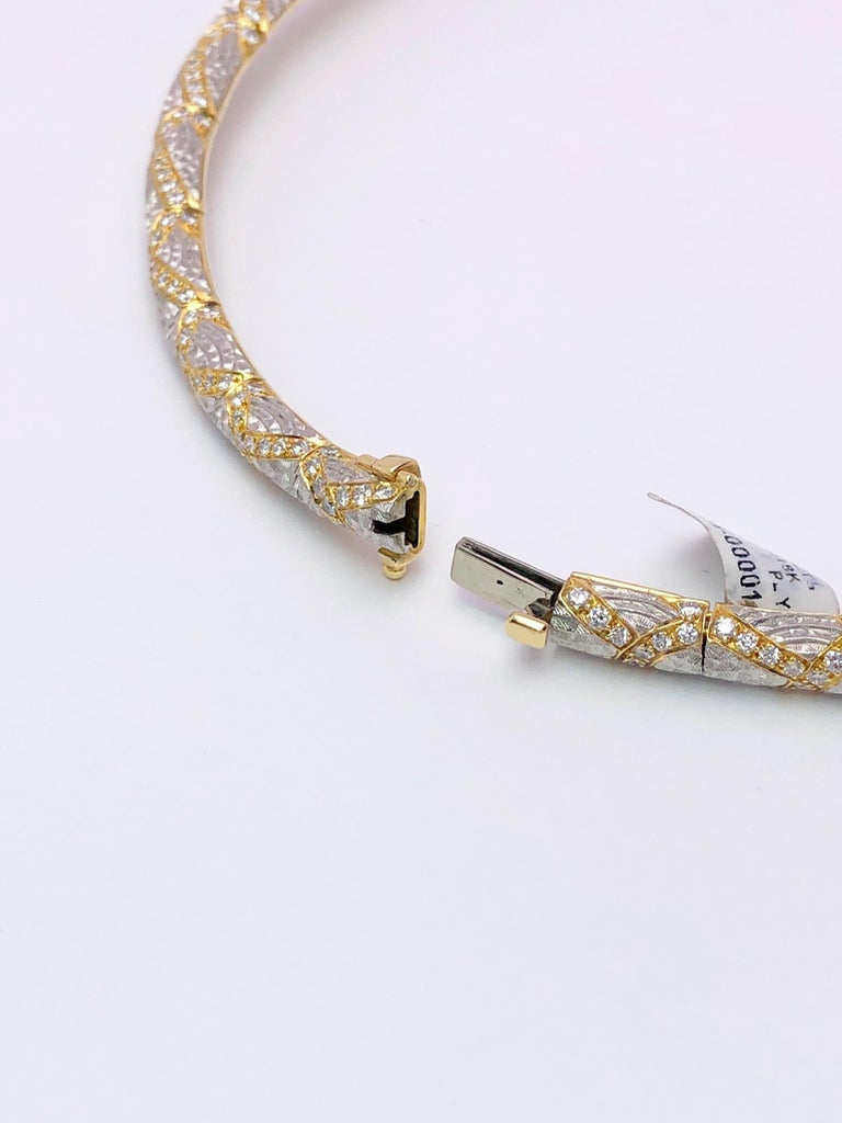 Michael Bondanza Platinum and 18KT YG, 10.24Ct. Diamond Venetian Collar Necklace In New Condition For Sale In New York, NY