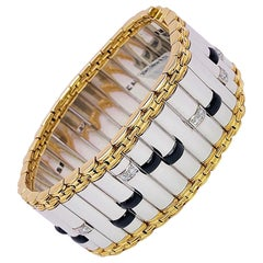 "Michael Bondanza Platinum and 18 Karat ""Architectual"" Bracelet Onyx and Diamonds"