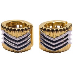 Michael Bondanza Platinum and 18 Karat Gold Heat Wave Huggie Earring