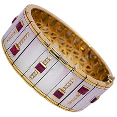 Michael Bondanza Platinum and 18KT Yellow Gold Bracelet with Rubies and Diamonds