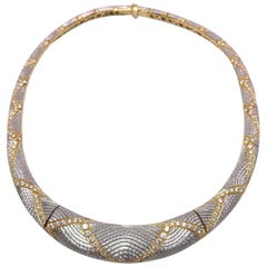 Michael Bondanza Platinum and 18KT YG, 10.24Ct. Diamond Venetian Collar Necklace