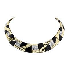 Michael Bondanza Platinum and Gold 5.11 Carat Round Diamond Choker Necklace