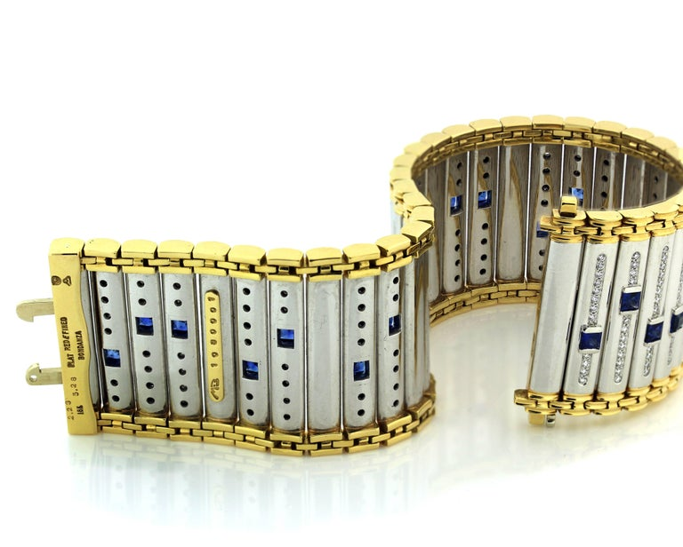 Michael Bondanza Platinum and Gold Blue Sapphire Diamond Bracelet In Excellent Condition For Sale In Boca Raton, FL