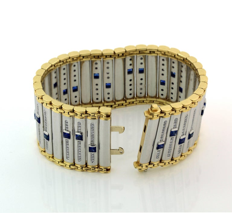 Women's Michael Bondanza Platinum and Gold Blue Sapphire Diamond Bracelet For Sale