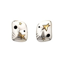 Michael Bondanza Star Earrings Estate Sterling Silver 18k Yellow Gold Jewelry