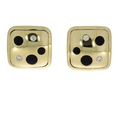 Michael Bondanza Yellow Gold Polka Dot Cabochon Onyx and Diamond Clip Earrings