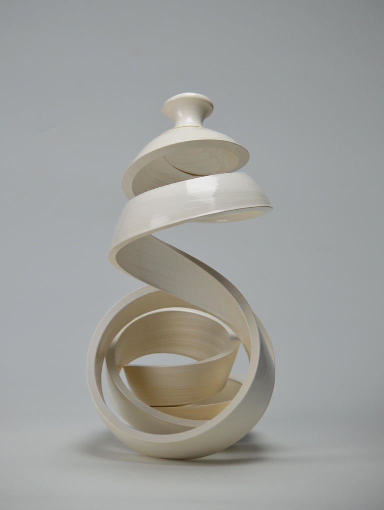 Spatial Spiral: Curve I - Black Abstract Sculpture by Michael Boroniec