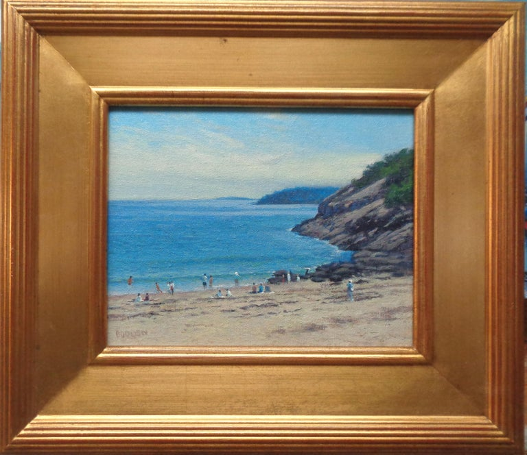 Landscape Oil Painting  Acadia Maine Contemporary by Artist Michael Budden - Gray Landscape Painting by Michael Budden