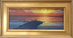 Beach Ocean Contemporary Seascape Painting Michael Budden Sunrise Glitter