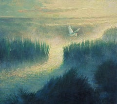 Beach & Ocean Impressionistic Seascape Oil Painting  by Michael Budden Egret