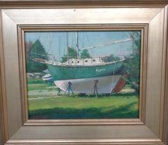 Beach & Ocean Impressionistic Seascape Oil Painting Michael Budden Boat Gypsie
