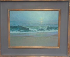 """Beach & Ocean Impressionistic Seascape Oil Painting """"Moonrise"""" by Michael Budden"""