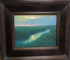 Beach Ocean Impressionistic Seascape Painting Michael Budden Moonlight Marsh