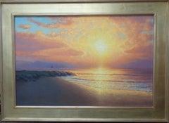 Beach Ocean Impressionistic Seascape Painting Michael Budden Sunrise Sailing