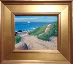 Beach & Ocean Summer Sailing Boats Impressionistic Oil Painting Michael Budden