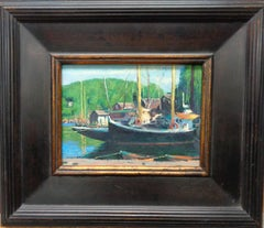 Boat Beach Ocean Impressionistic Seascape Painting Michael Budden Mystic Seaport