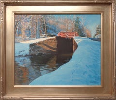 Winter Snow Scene Contemporary Bucks Co Landscape Oil Painting by Michael Budden
