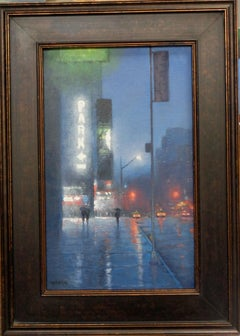 New York City Nocturne Oil Painting Theater District Wicked Evening Mike Budden