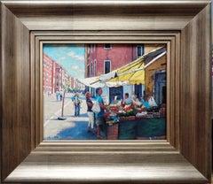 Venice Seascape Oil Painting of a Venetian Market by Michael Budden
