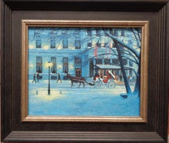 New York City Winter Landscape Oil Painting Plaza & Carriage by Michael Budden
