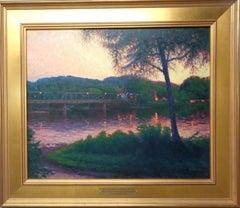 Sunset River Landscape Oil Painting Michael Budden New Hope/Lambertville Bridge
