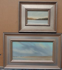 Contemporary Traditional Pair of Landscape Seascape Paintings Al Barker