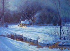 Winter Snow Scene Contemporary Landscape Oil Painting by Michael Budden