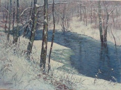 Winter Snow Scene Landscape Oil Painting of a Stream by Michael Budden