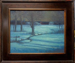 Winter Moonlight Nocturne Snow Scene Landscape Oil Painting by Michael Budden