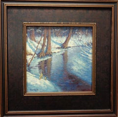Winter Snow Scene Landscape Oil Painting by Michael Budden