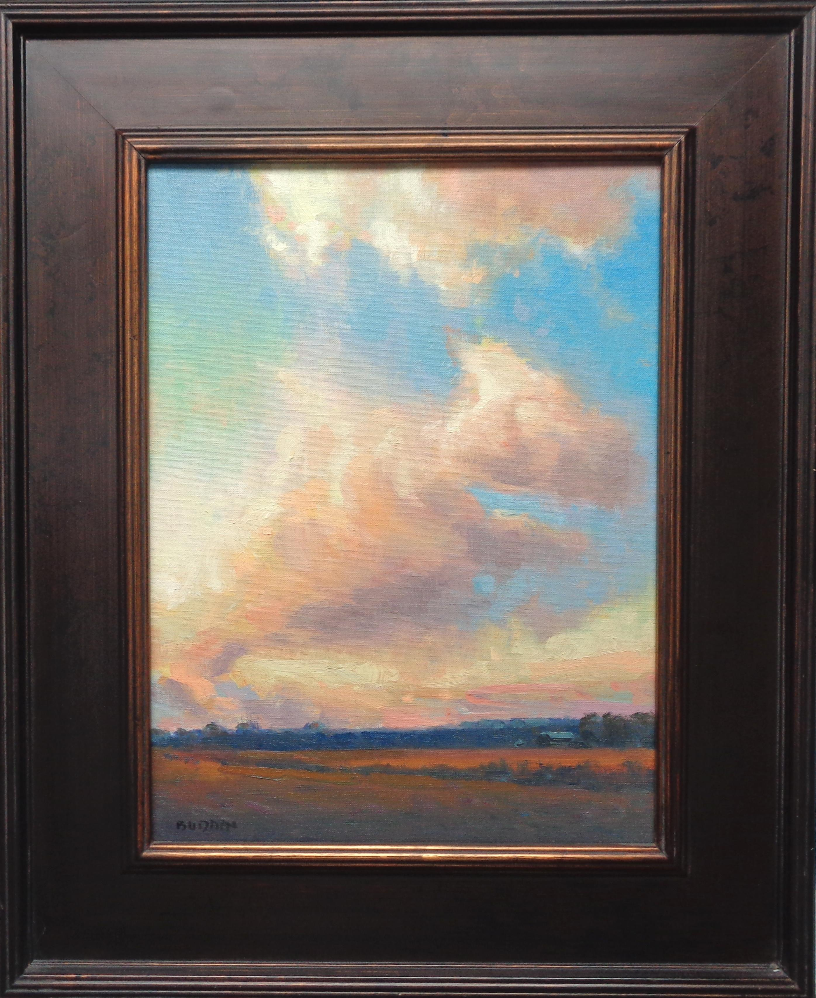 Dramatic Sunset Landscape & Clouds Impressionistic Oil Painting Michael Budden