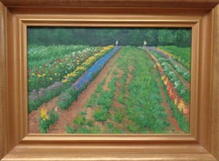 Floral Landscape Impressionistic Oil Painting by Michael Budden Summer Garden