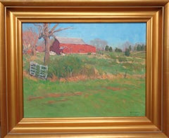 Impressionistic Barn Landscape Oil Painting Michael Budden Lush Light of Spring